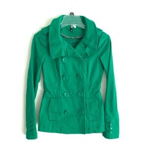 H&M Divided royal green double breasted coat